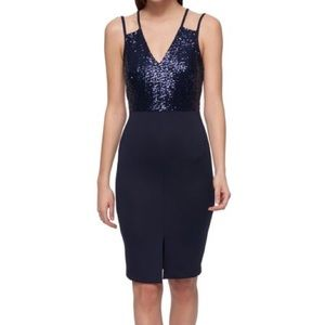 GUESS Sequined Strappy Sheath Dress